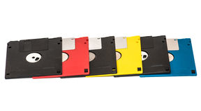 Floppy disk. Old obsolete colored floppy disks on a white background Royalty Free Stock Photography