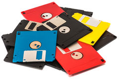 Floppy disk. Old obsolete colored floppy disks on a white background Royalty Free Stock Images