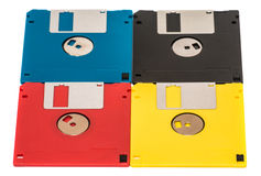 Floppy disk. Old obsolete colored floppy disks on a white background Royalty Free Stock Photo