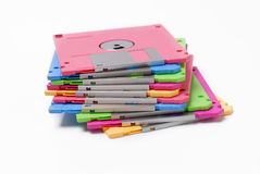 Floppy disk. Pile of floppy disks on white background Royalty Free Stock Image
