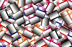 Colorful Floppy disk background. Background made with colorful isolated floppy disks royalty free illustration