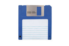 Floppy disk. Blue floppy disk with blank label on white background royalty free stock image