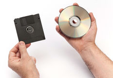 Floppy disk and CD Royalty Free Stock Photography