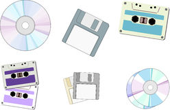 Floppy Disk , CD , Cassette. An illustration of musical and storage systems very popular in the recent past and in present times Royalty Free Stock Photo
