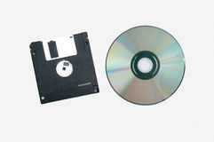 Floppy disk and cd rom isolate on white background Royalty Free Stock Image