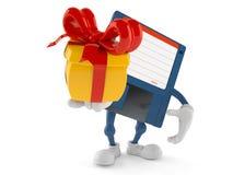 Floppy disk character holding gift. On white background. 3d illustration Stock Images