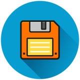 Floppy disk circle blue icon. Illustration of floppy disk circle blue icon Royalty Free Stock Photos