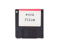 Floppy disk, data storage support. Isolated on white - Work files Royalty Free Stock Image
