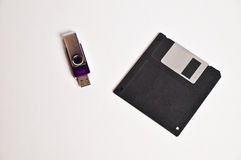 Floppy disk diskette and USB flash drive memory stick Royalty Free Stock Photography