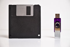 Floppy disk diskette and USB flash drive memory stick Stock Photography