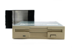 Floppy disk drive. Isolated on white Stock Images