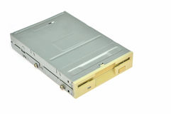 Floppy disk drive. Isolated over white Royalty Free Stock Photo