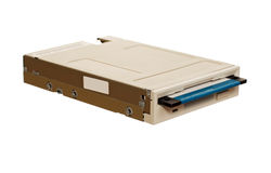 Floppy disk drive with diskette. Isolated over white Stock Photos