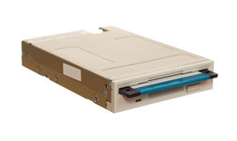 Floppy disk drive with diskette. Isolated over white Royalty Free Stock Photo