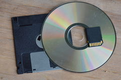 Floppy disk with DVD and SD card technology development for computer Stock Photo