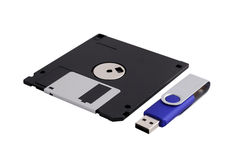 Floppy Disk & Flash Drive. Floppy Disk and USB Flash Drive Royalty Free Stock Photography