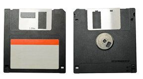 Floppy disk front and back. Closeup of floppy disk from front and back on white background stock image