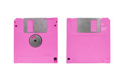 Floppy disk. Front and back side of blank pink floppy disk Stock Photos