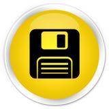 Floppy disk icon premium yellow round button. Floppy disk icon isolated on premium yellow round button abstract illustration Stock Photography