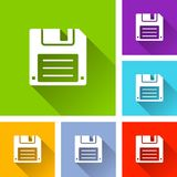 Floppy disk icons with shadow. Illustration of floppy disk icons with shadow Stock Image