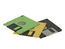 Floppy disk.Isolated. Set of multicolored computer floppy disc on a white background Stock Photos
