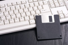 Floppy disk and keyboard Royalty Free Stock Images