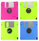 Floppy disk magnetic computer data storage support. Isolated over white background Stock Image