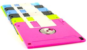 Floppy disk magnetic computer data storage. Support isolated over white background Royalty Free Stock Photography