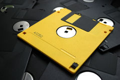 Floppy disk pile. 3.5 inches floppy discs pile Royalty Free Stock Photography