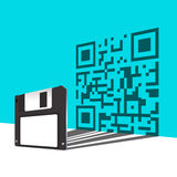 Floppy Disk. And QR Code on wall Royalty Free Stock Photos