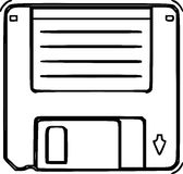 Floppy Disk Sketch Line Art Stock Photography