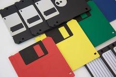 Floppy disk sui precedenti bianchi Retro stile immagine stock libera da diritti