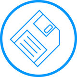 Floppy Disk Vector Line Icon. Vector line icon of a floppy disk in two dimensional perspective. Icon is comprised of thin line solids, encircled, and angled at Stock Photos
