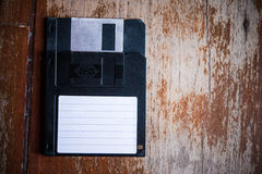 Floppy Disk. An Floppy Disk On Wood Backgrounds Stock Photos
