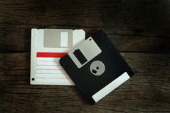 Floppy disk. On wooden floor Stock Images