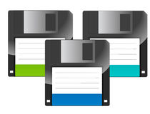 Floppy Disks. Floppy diskettes in different colors, white nice reflection Stock Photos