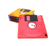 Floppy disks. Pile of floppy disks of different colors royalty free stock photo
