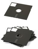 Floppy disks. Old 5'25 inch floppy disks from 80's years, isolated on white baclground Stock Photography