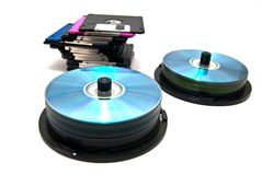Floppy disks and cd Royalty Free Stock Photo