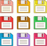 Floppy Disks. Colorful set of floppy disk vectors Royalty Free Stock Photography