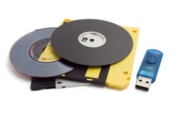 Floppy disks and flash drive Stock Images