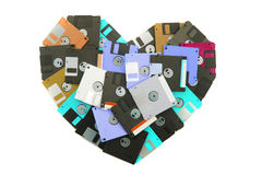 Floppy disks heart. Isolated on the white background Stock Photos