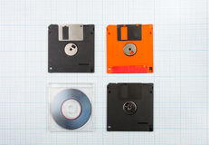 Floppy disks and mini-CD. Vintage background - computer floppy disks and mini-CD on the blueprint paper, toned Stock Images