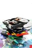 Floppy dissc, dvd, cd-rom, harddrive. Data background (floppy dissc, dvd, cd-rom, harddrive Stock Photos