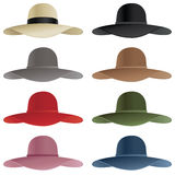 Floppy hat. A selection of floppy hats in various colors Stock Photo