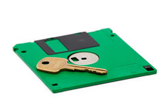 Floppy and key Royalty Free Stock Photos