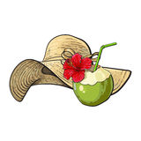Floppy straw hat and coconut cocktail, drink, summer objects Royalty Free Stock Photo