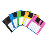 Floppydisk-color. Floppy disk  on white with clear signage to write about it. Memory that has been popular in the past Royalty Free Stock Images