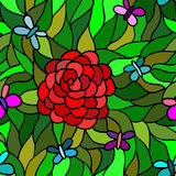Flor abstracta con la mariposa, modelo inconsútil Foto de archivo libre de regalías