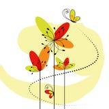 Flor abstracta de la primavera con la mariposa Foto de archivo libre de regalías